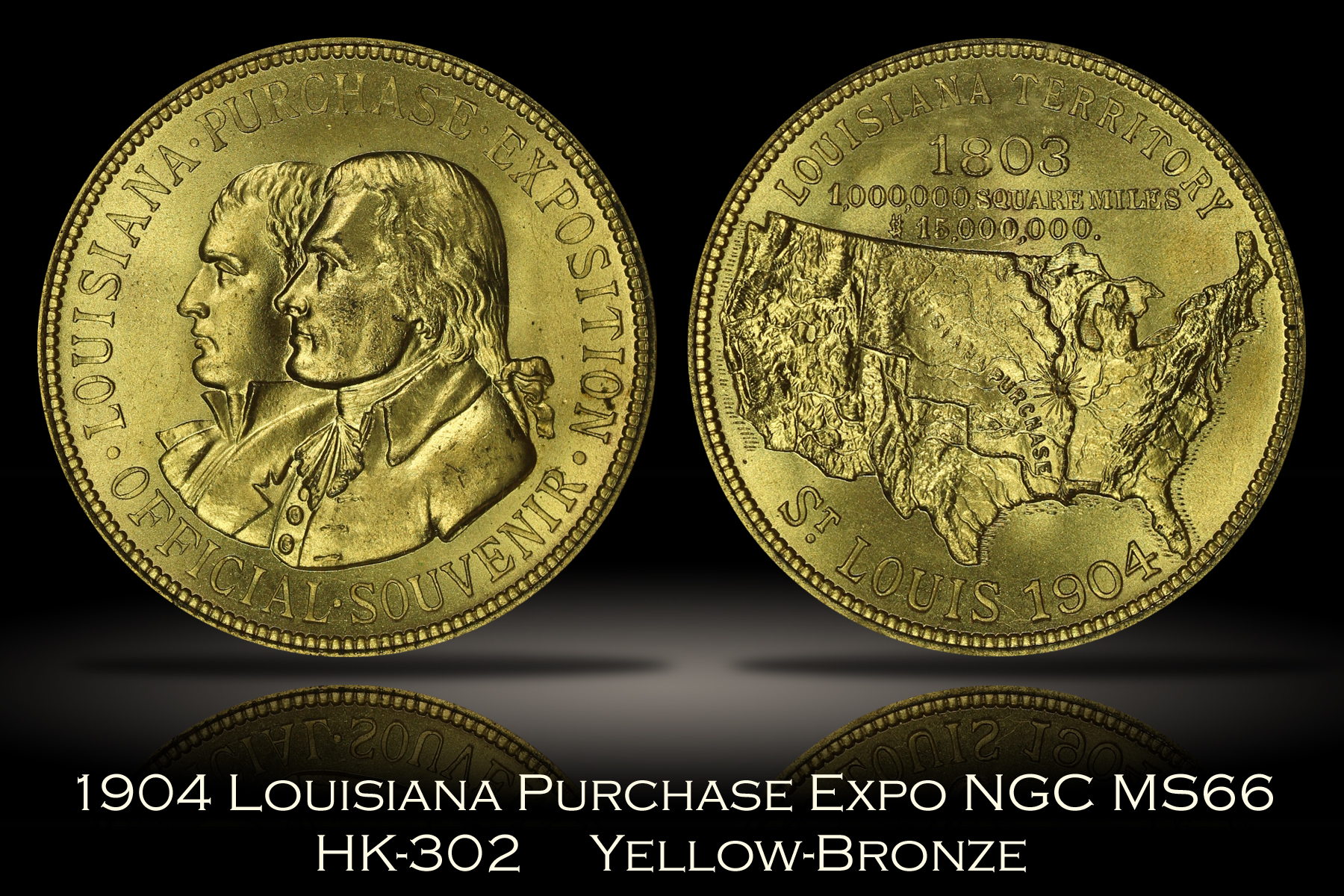1904 Louisiana Purchase Expo Official Medal HK-302 NGC MS66