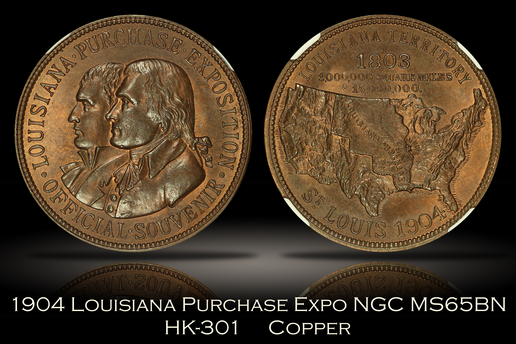 1904 Louisiana Purchase Expo Official Medal HK-301 NGC MS65BN
