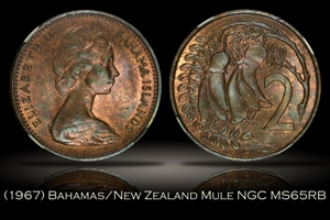 1967 Bahamas New Zealand 2 Cent Mule NGC MS65RB