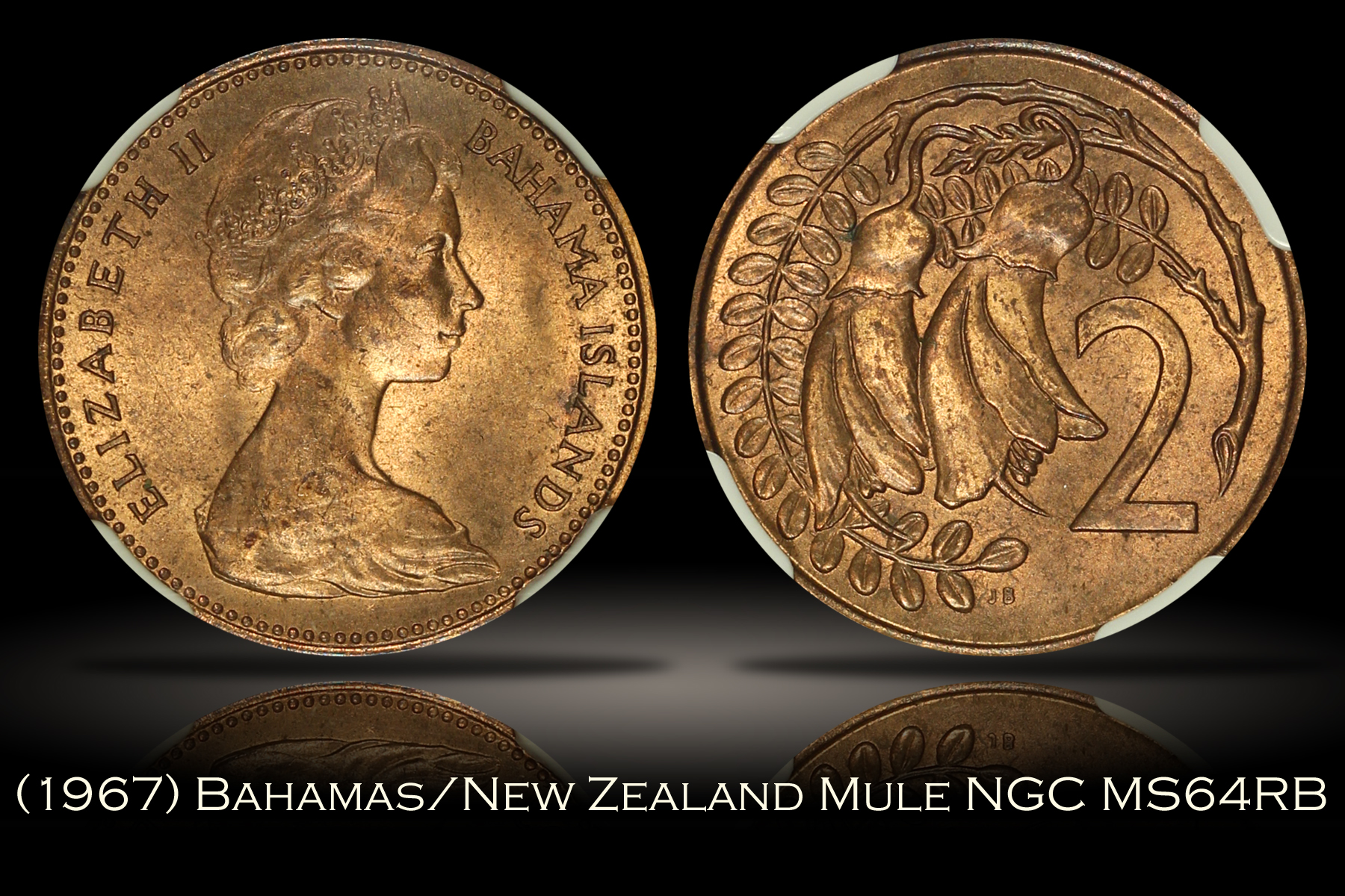 1967 Bahamas New Zealand 2 Cent Mule NGC MS64RB
