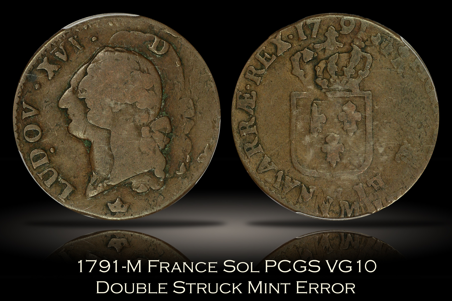 1791-M France Sol PCGS VG10 Double Struck Mint Error
