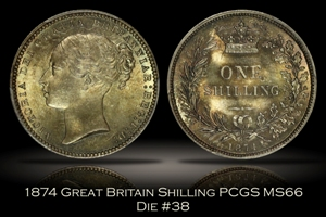 1874 Great Britain Shilling Die #38 PCGS MS66