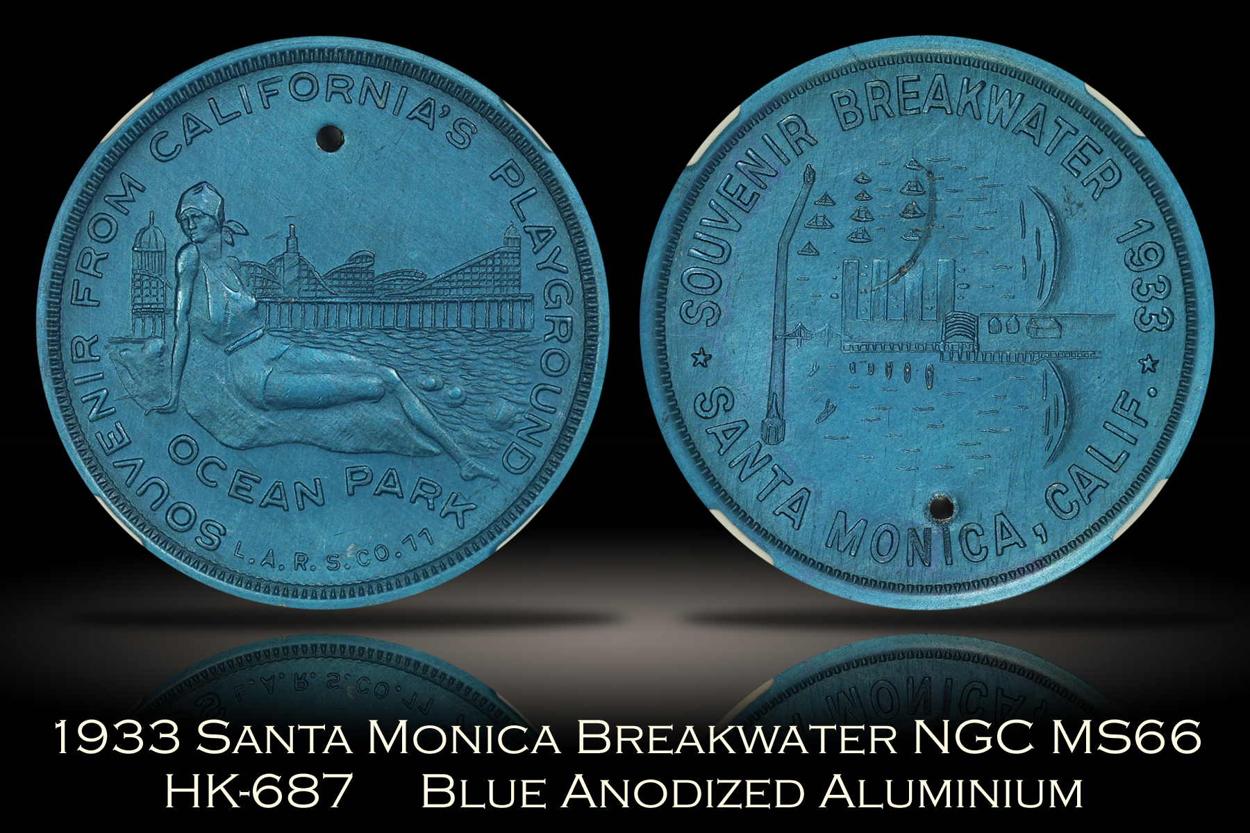 1933 Santa Monica Breakwater HK-687 Blue Anodized Aluminum NGC MS66
