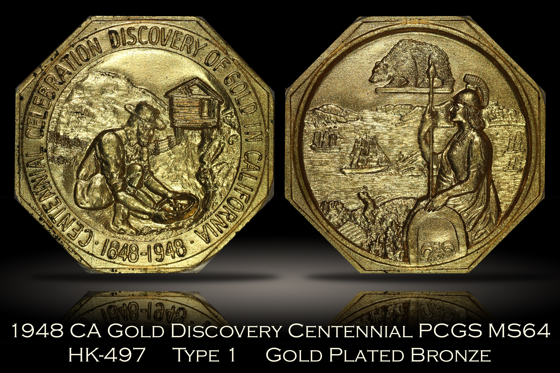 1948 California Gold Discovery Centennial HK-497 Gold Plated PCGS MS64