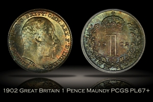 1902 Great Britain 1 Pence Maundy PCGS PL67+