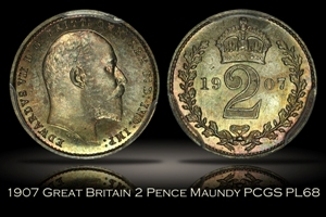 1907 Great Britain 2 Pence Maundy PCGS PL68
