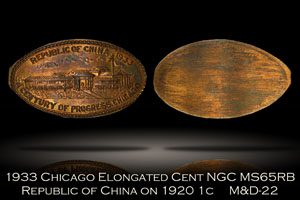 1933 Chicago Republic of China Elongated Cent M&D-22 NGC MS65RB