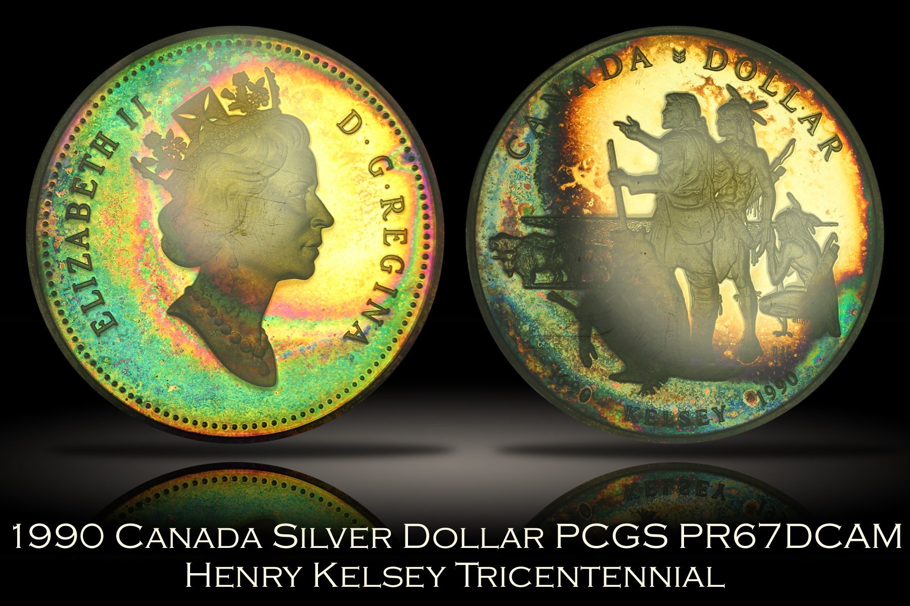 1990 Canada Henry Kelsey Silver Dollar PCGS PR67DCAM