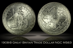 1908-B Great Britain Trade Dollar NGC MS63