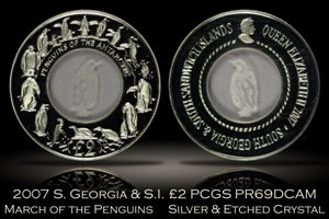 2007 South Georgia & Sandwich Islands March of the Penguins PCGS PR69DC