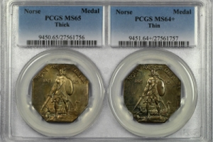 1925 Norse Medal Thick & Thin Set PCGS MS65/MS64+