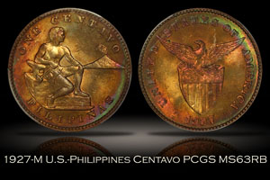 1927-M U.S.-Philippines One Centavo PCGS MS63RB