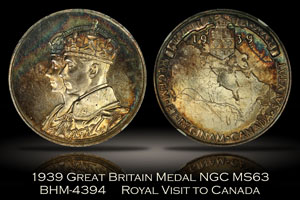 1939 Great Britain Royal Visit to Canada Medal NGC MS63