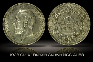 1928 Great Britain Crown NGC AU58