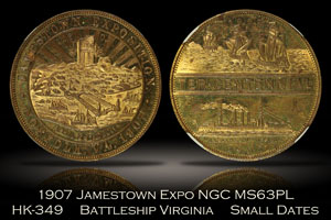 1907 Jamestown Expo Battleship Virginia Small Dates HK-349 PCGS MS63PL
