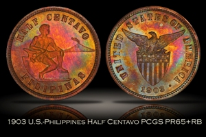 1903 U.S.-Philippines Proof Half Centavo PCGS PR65+RB