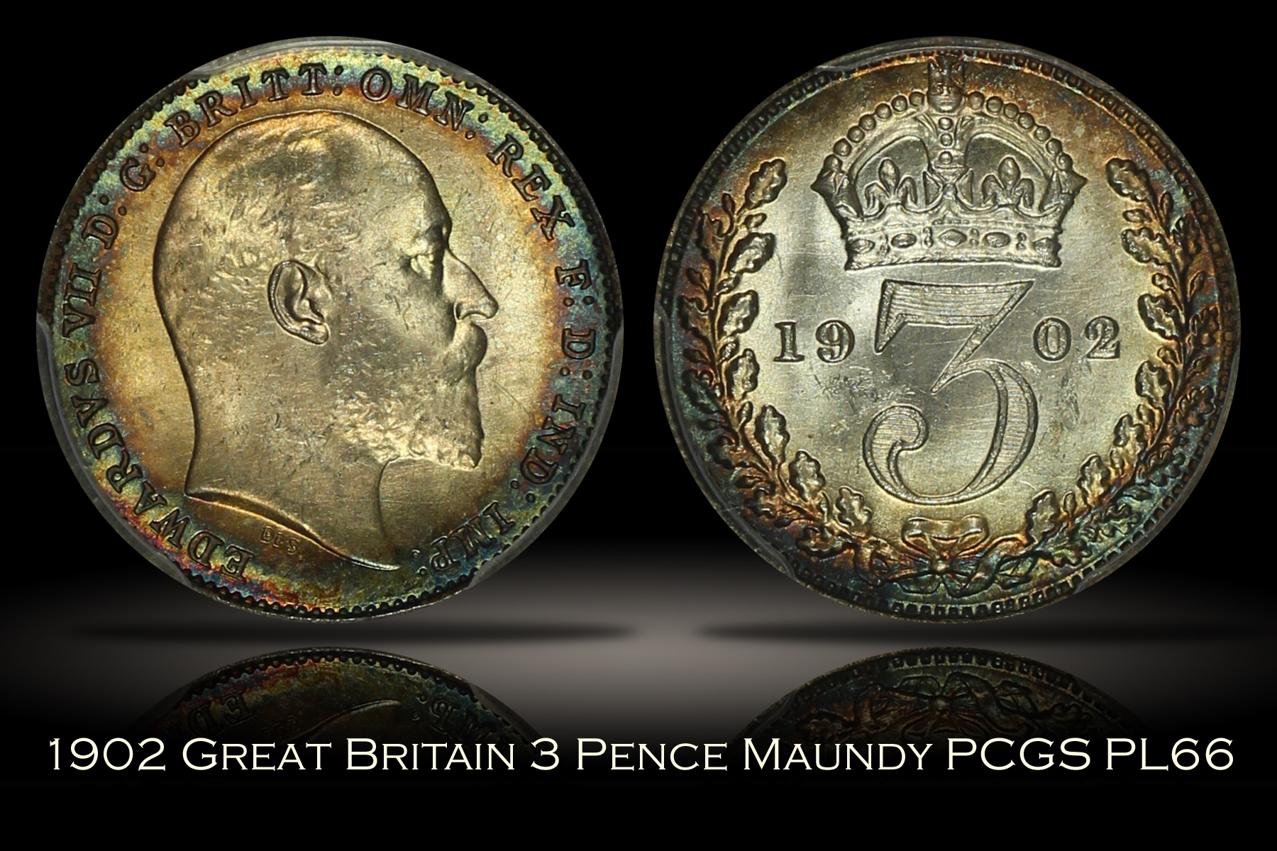 1902 Great Britain 3 Pence Maundy PCGS PL66