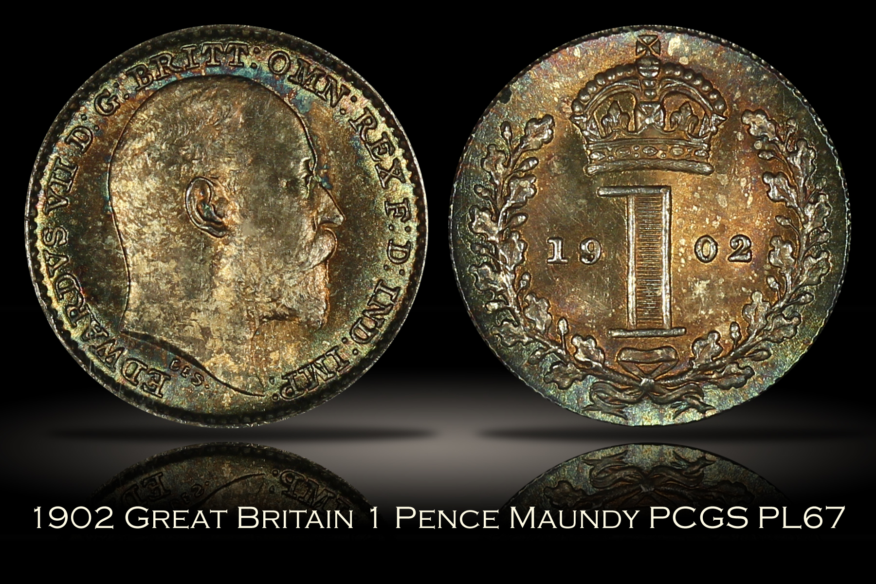 1902 Great Britain 1 Pence Maundy PCGS PL67