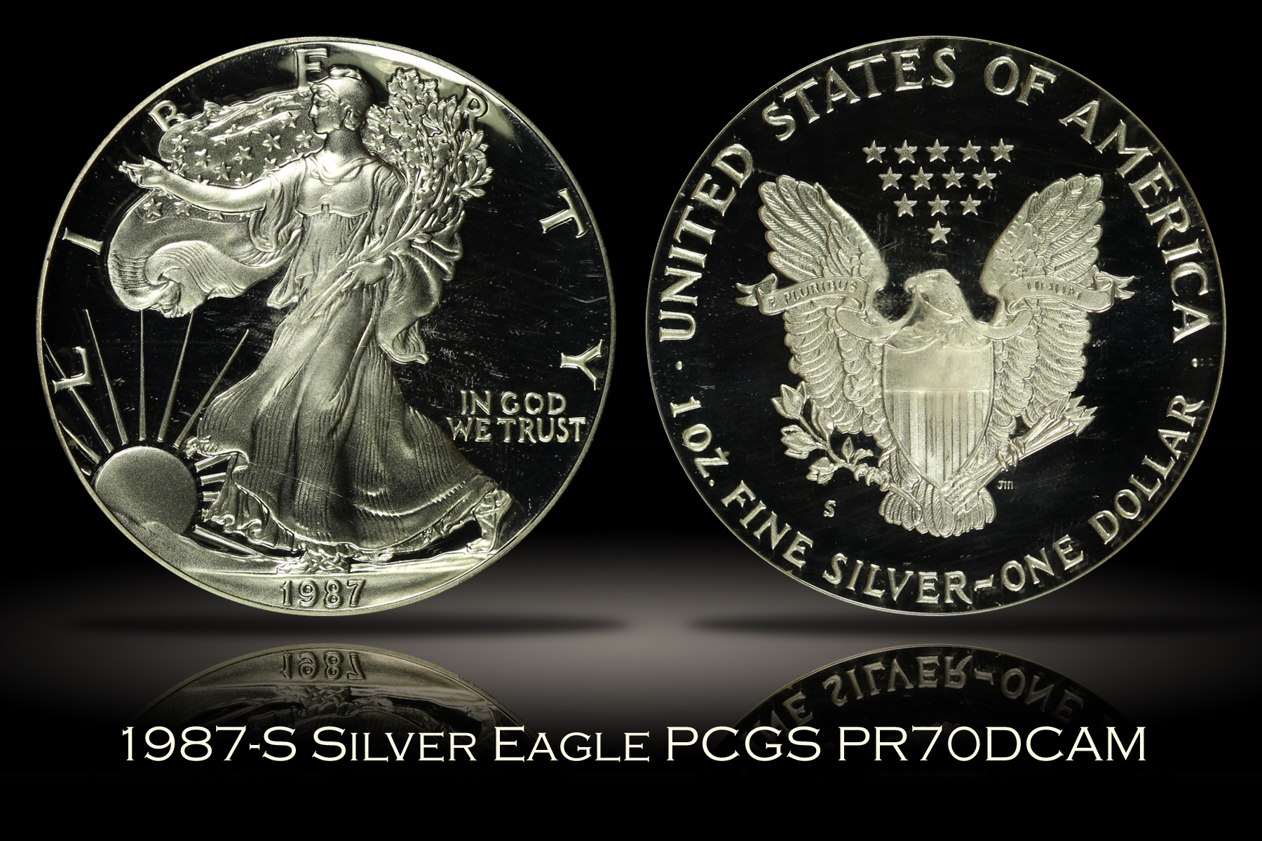 1987-S Proof Silver Eagle PCGS PR70DCAM