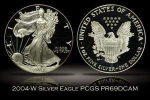 2004-W Proof Silver Eagle PCGS PR69DC Retro Doily