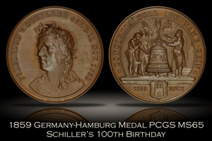 1859 Germany Hamburg Schiller's Birthday Medal PCGS MS65