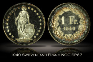 1940 Switzerland Franc NGC SP67