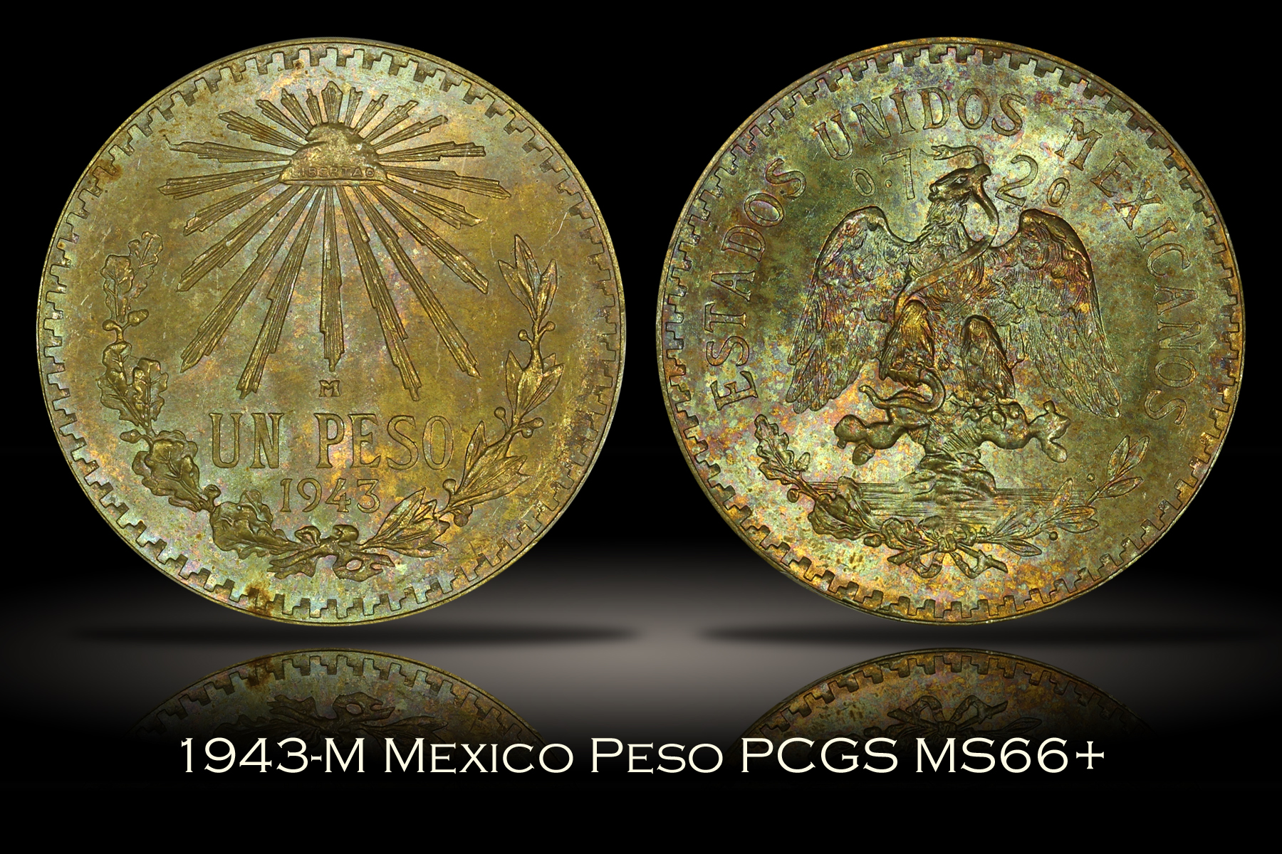 1943-M Mexico Peso PCGS MS66+