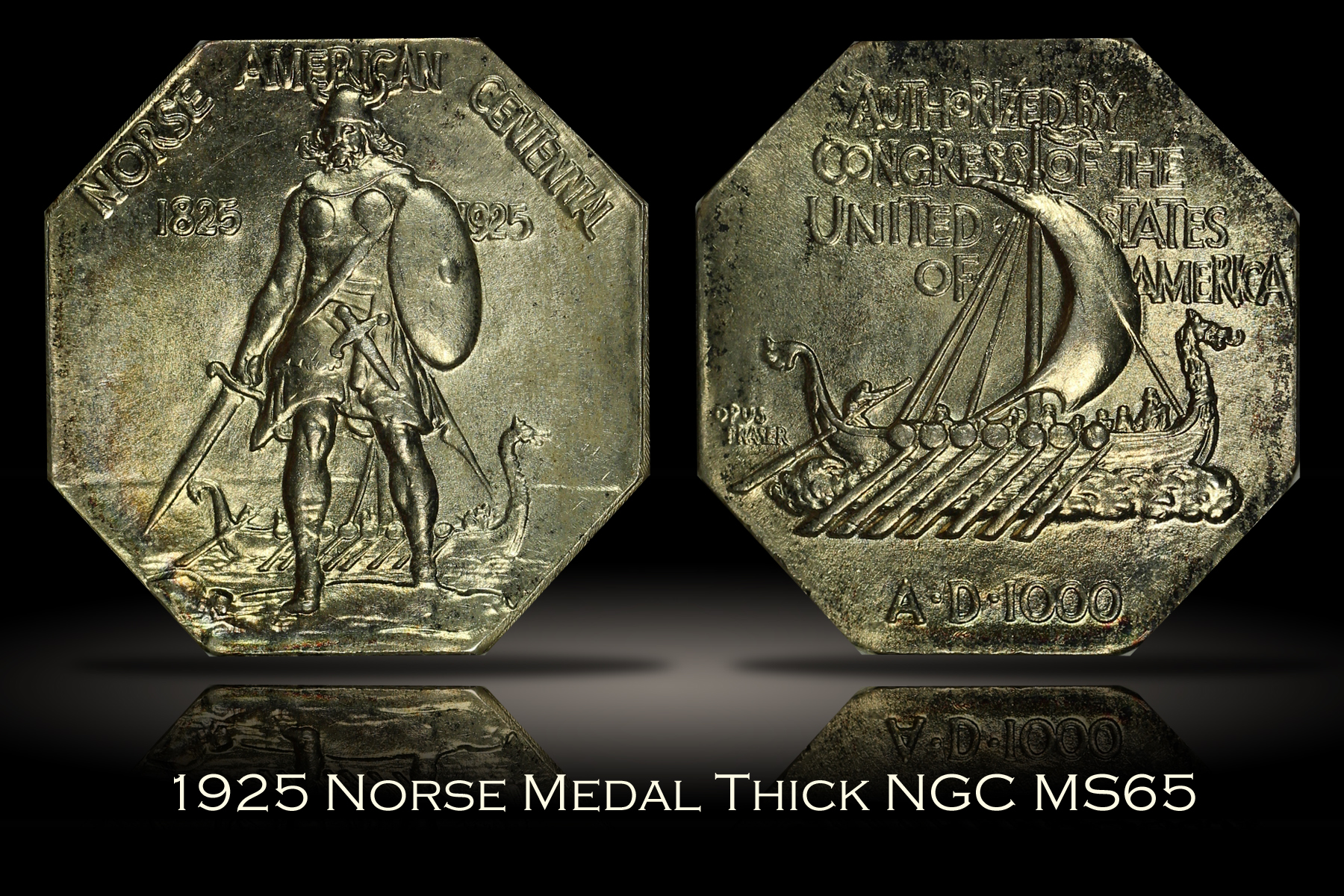 1925 Norse Medal Thick NGC MS65