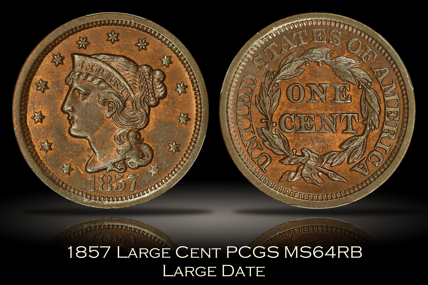 1857 Large Date Large Cent PCGS MS64RB