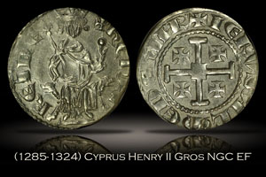 1285-1324 Cyprus Henry II Gros Coin of the Crusades NGC EF