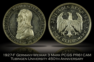 1927-F Germany 3 Mark Tubingen University PCGS PR61CAM
