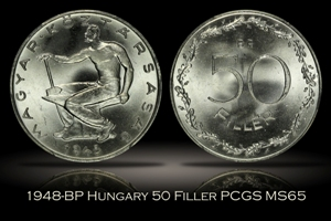1948-BP Hungary 50 Filler PCGS MS65