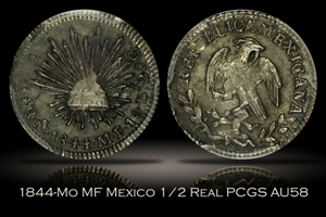 1844-Mo MF Mexico 1/2 Real PCGS AU58