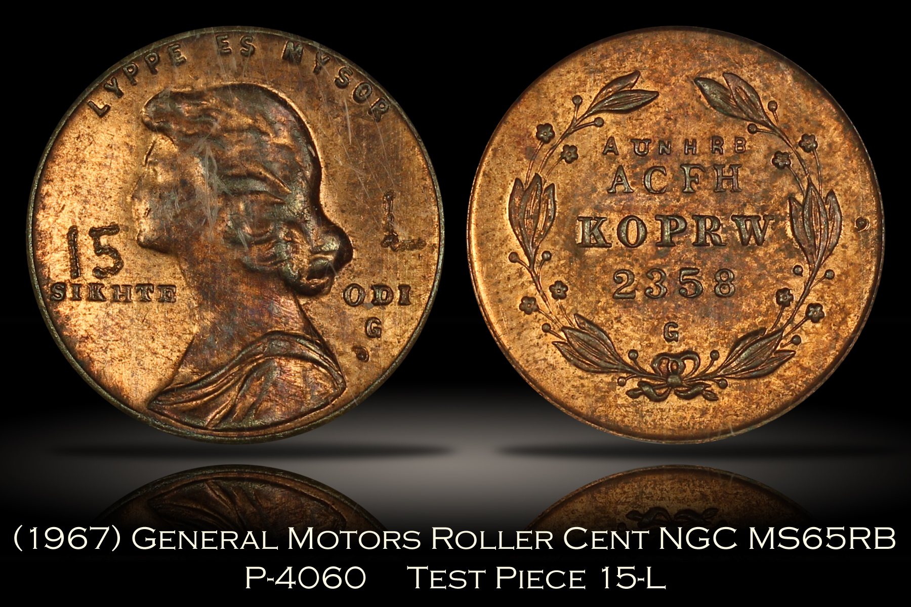 (1967) General Motors Roller Cent Pattern P-4060 NGC MS65RB