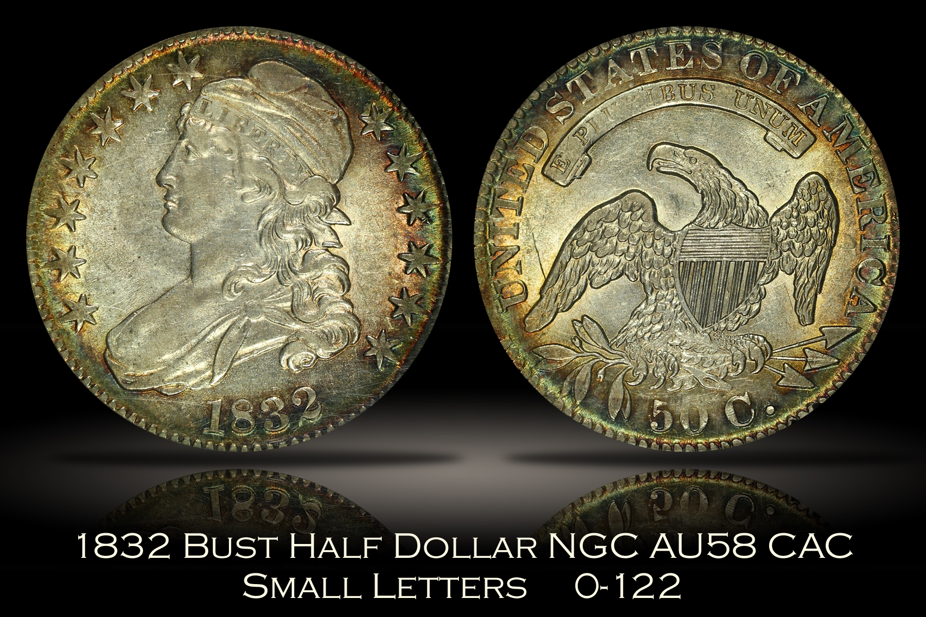 1832 Capped Bust Half Dollar O-122 Small Letters NGC AU58 CAC