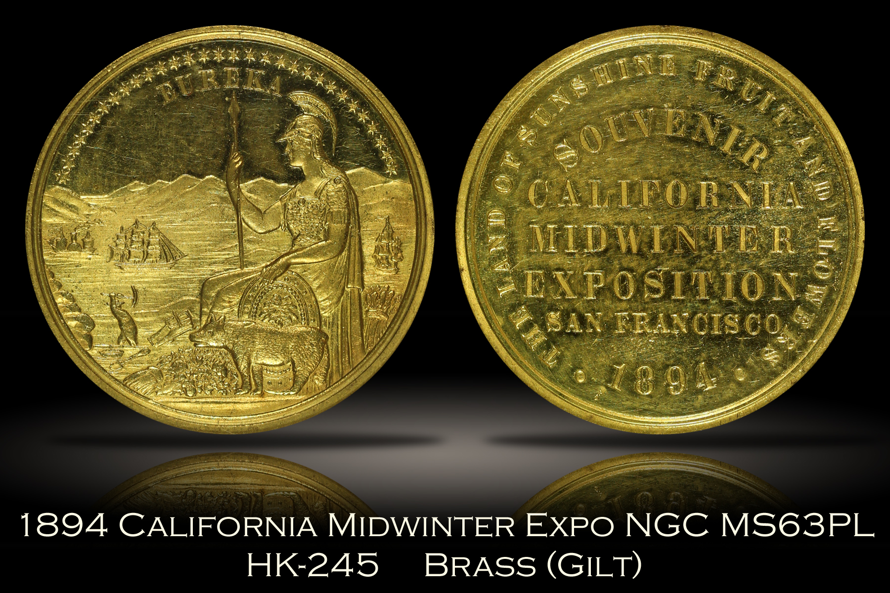 1894 California Midwinter Expo Medal HK-245 NGC MS63PL