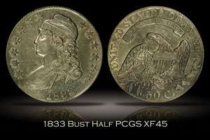 1833 Capped Bust Half Dollar PCGS XF45