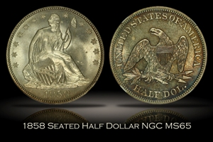 1858 Seated Liberty Half Dollar NGC MS65