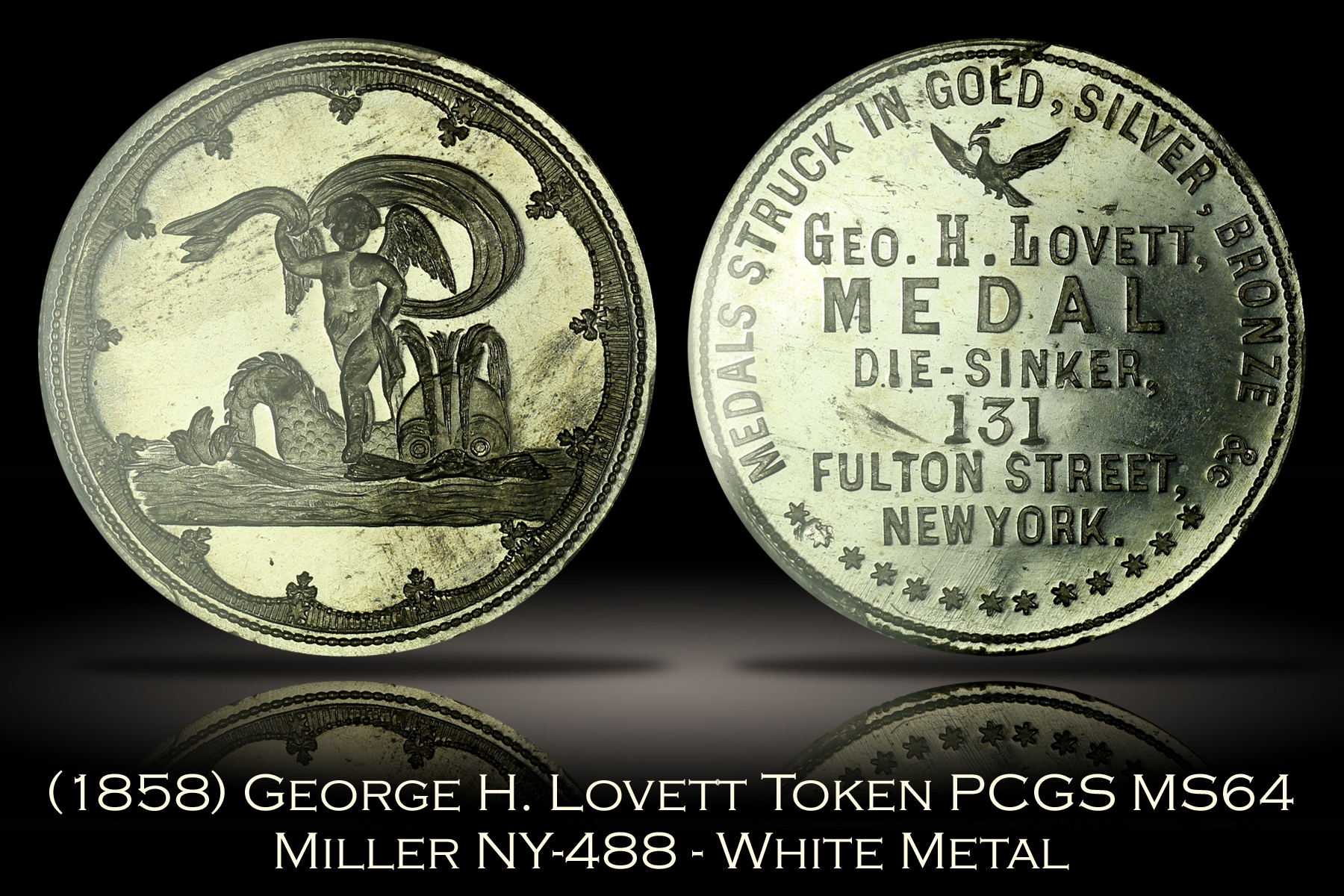 (1858) Lovett Cupid Token Miller NY-488 White Metal PCGS MS64