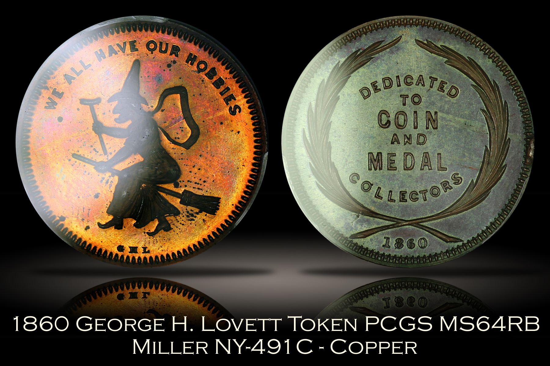 1860 Lovett We All Have Our Hobbies Token Miller NY-491C Copper PCGS MS64RB