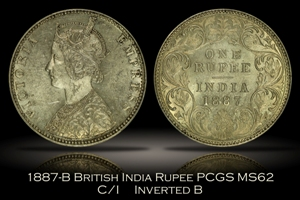 1887-B British India Rupee PCGS MS62