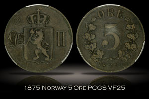 1875 Norway 5 Ore PCGS VF25