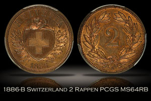 1886-B Switzerland 2 Rappen PCGS MS64RB