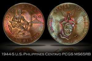 1944-S U.S.-Philippines One Centavo PCGS MS65RB