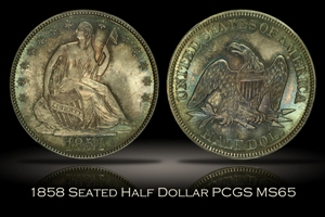1858 Seated Liberty Half Dollar PCGS MS65