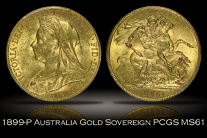 1899-P Australia Gold Sovereign PCGS MS61