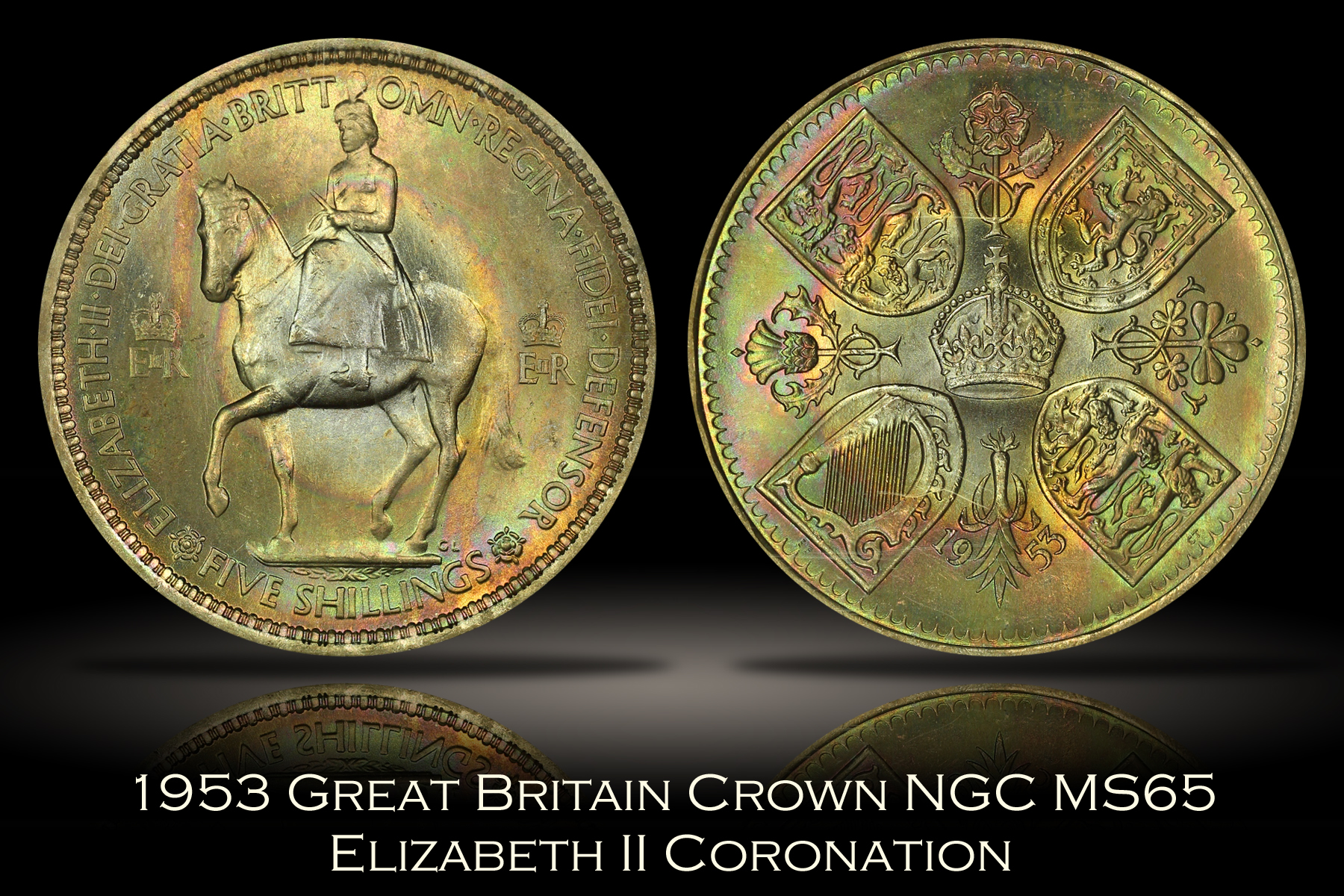 1953 Great Britain Elizabeth II Coronation Crown NGC MS65
