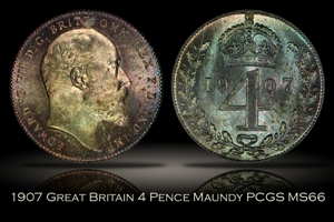 1907 Great Britain 4D Maundy PCGS MS66 OGH