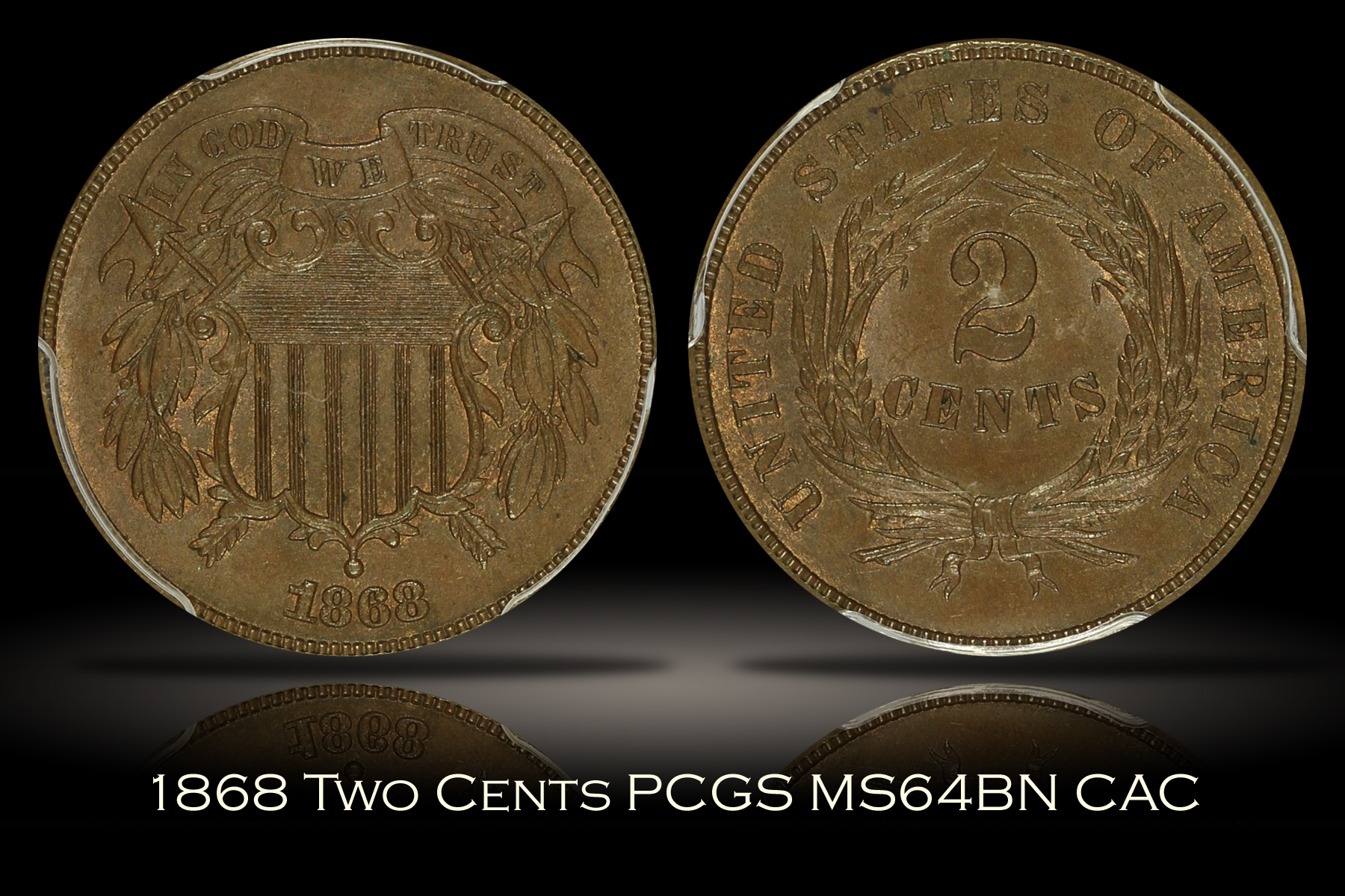 1868 Two Cents PCGS MS64BN CAC