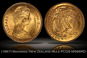 1967 Bahamas New Zealand 2 Cent Mule PCGS MS66RD